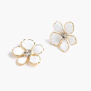 J. Crew Enamel White Gold Pansy Earrings NWT